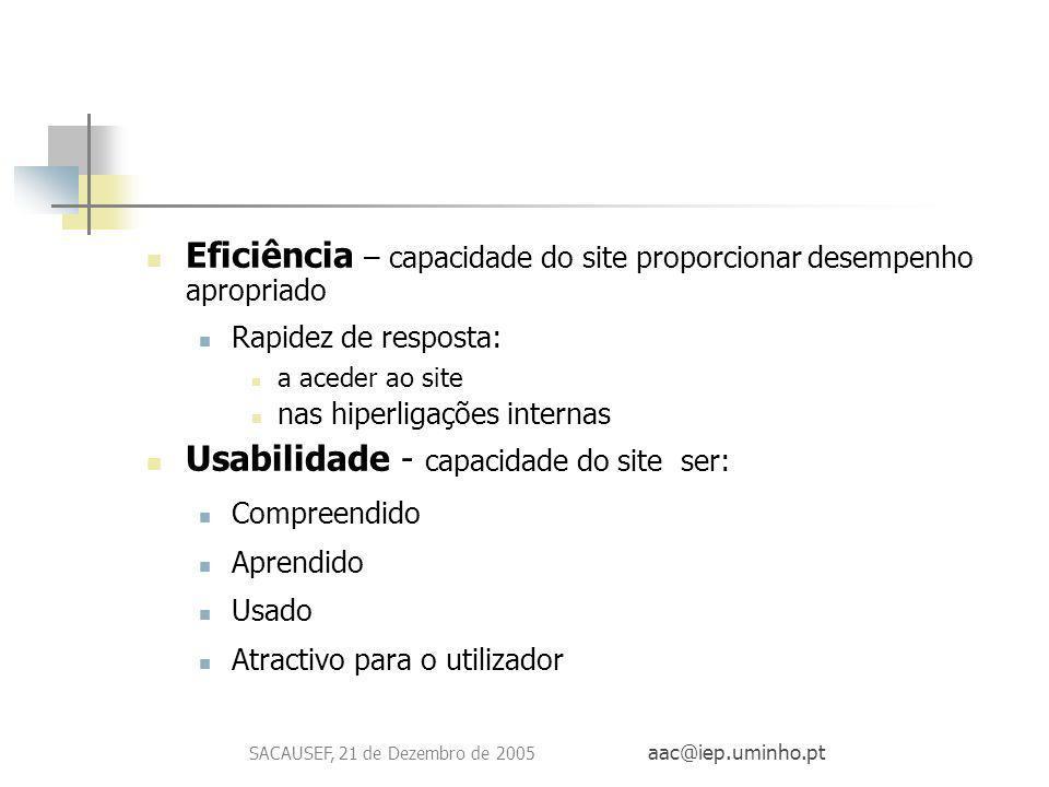 SACAUSEF, 21 de Dezembro de 2005 aac@iep.uminho.pt Eficiência – capacidade do site proporcionar desempenho apropriado Rapidez de resposta: a aceder ao