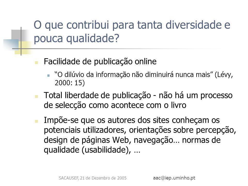 SACAUSEF, 21 de Dezembro de 2005 aac@iep.uminho.pt O que contribui para tanta diversidade e pouca qualidade? Facilidade de publicação online O dilúvio