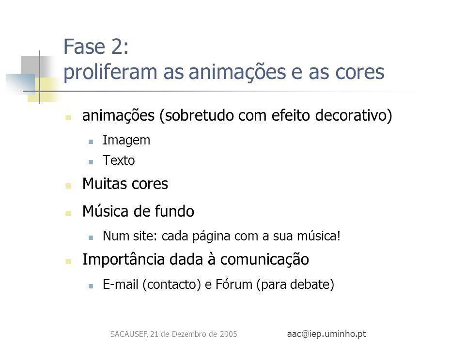 SACAUSEF, 21 de Dezembro de 2005 aac@iep.uminho.pt Fase 2: proliferam as animações e as cores animações (sobretudo com efeito decorativo) Imagem Texto
