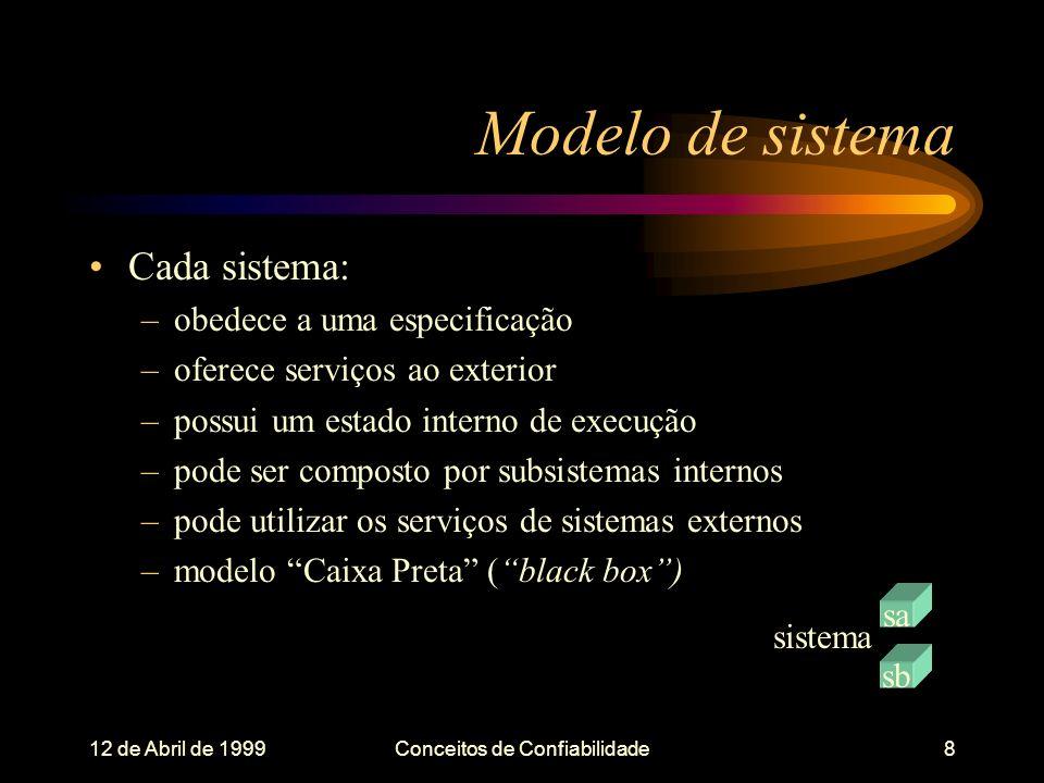 12 de Abril de 1999Conceitos de Confiabilidade8 Modelo de sistema Cada sistema: –obedece a uma especificação –oferece serviços ao exterior –possui um estado interno de execução –pode ser composto por subsistemas internos –pode utilizar os serviços de sistemas externos –modelo Caixa Preta (black box) sistema sa sb