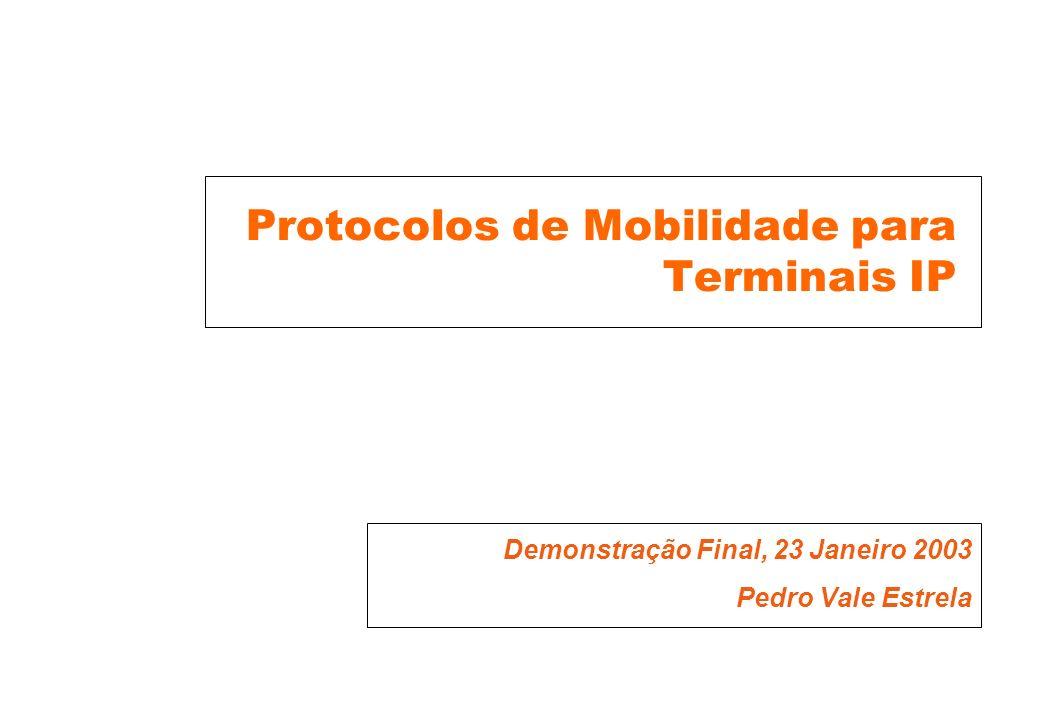 Protocolos de Mobilidade para Terminais IP Demonstração Final, 23 Janeiro 2003 Pedro Vale Estrela