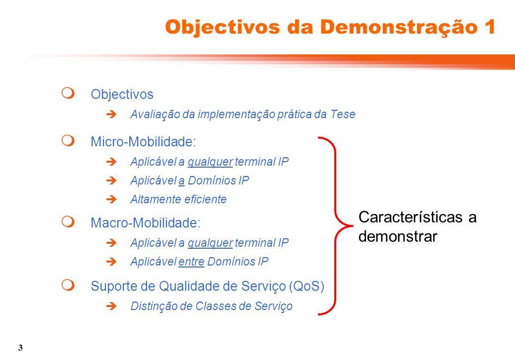 3 Objectivos da Demonstração 1 Objectivos Avaliação da implementação prática da Tese Micro-Mobilidade: Aplicável a qualquer terminal IP Aplicável a Domínios IP Altamente eficiente Suporte de Qualidade de Serviço (QoS) Distinção de Classes de Serviço Macro-Mobilidade: Aplicável a qualquer terminal IP Aplicável entre Domínios IP Características a demonstrar