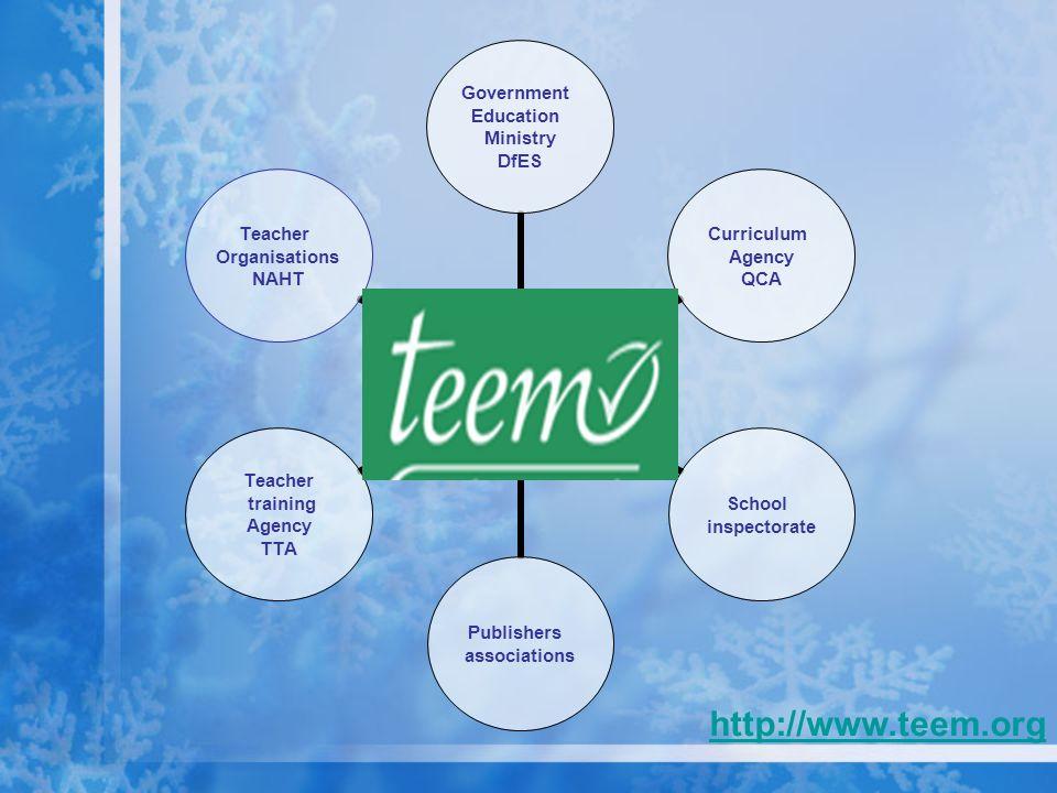 Government Education Ministry DfES Curriculum Agency QCA School inspectorate Publishers associations Teacher training Agency TTA Teacher Organisations NAHT http://www.teem.org
