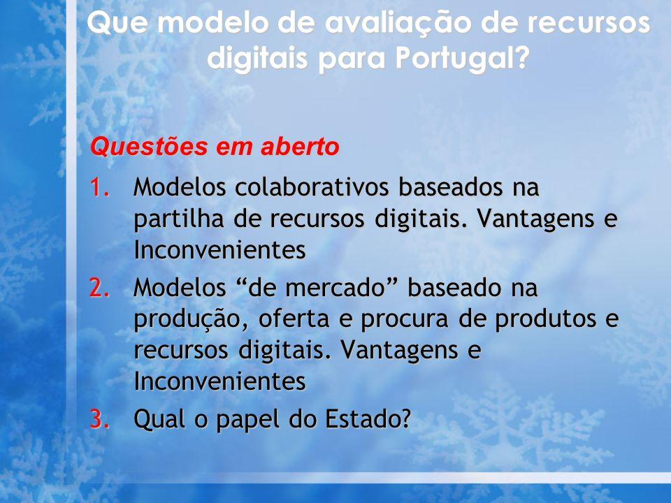 Que modelo de avaliação de recursos digitais para Portugal.