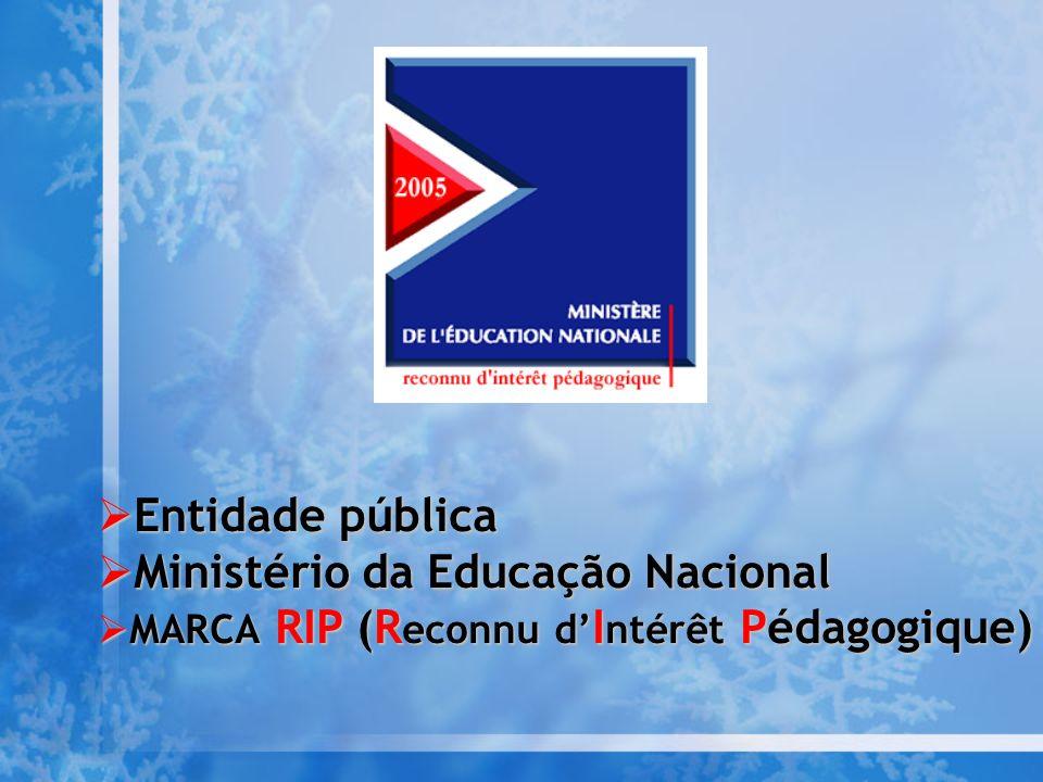 Entidade pública Entidade pública Ministério da Educação Nacional Ministério da Educação Nacional MARCA RIP (R econnu d I ntérêt Pédagogique) MARCA RIP (R econnu d I ntérêt Pédagogique)