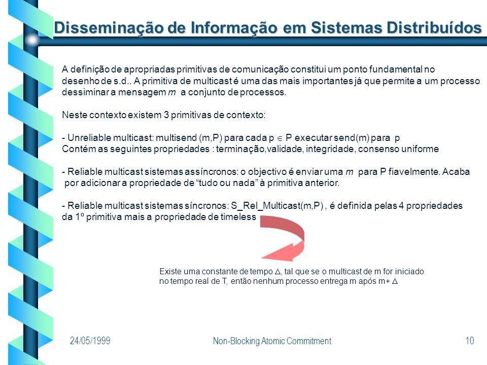 24/05/1999Non-Blocking Atomic Commitment10 Disseminação de Informação em Sistemas Distribuídos A definição de apropriadas primitivas de comunicação co
