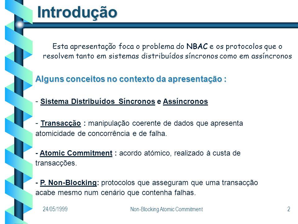 24/05/1999Non-Blocking Atomic Commitment2 Introdução Alguns conceitos no contexto da apresentação : - Sistema Distribuídos Síncronos e Assíncronos - T