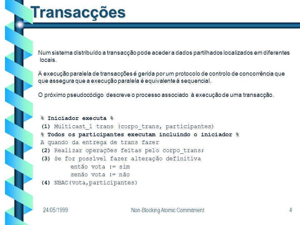 24/05/1999Non-Blocking Atomic Commitment4 Transacções % Iniciador executa % (1) Multicast_1 trans (corpo_trans, participantes) % Todos os participante