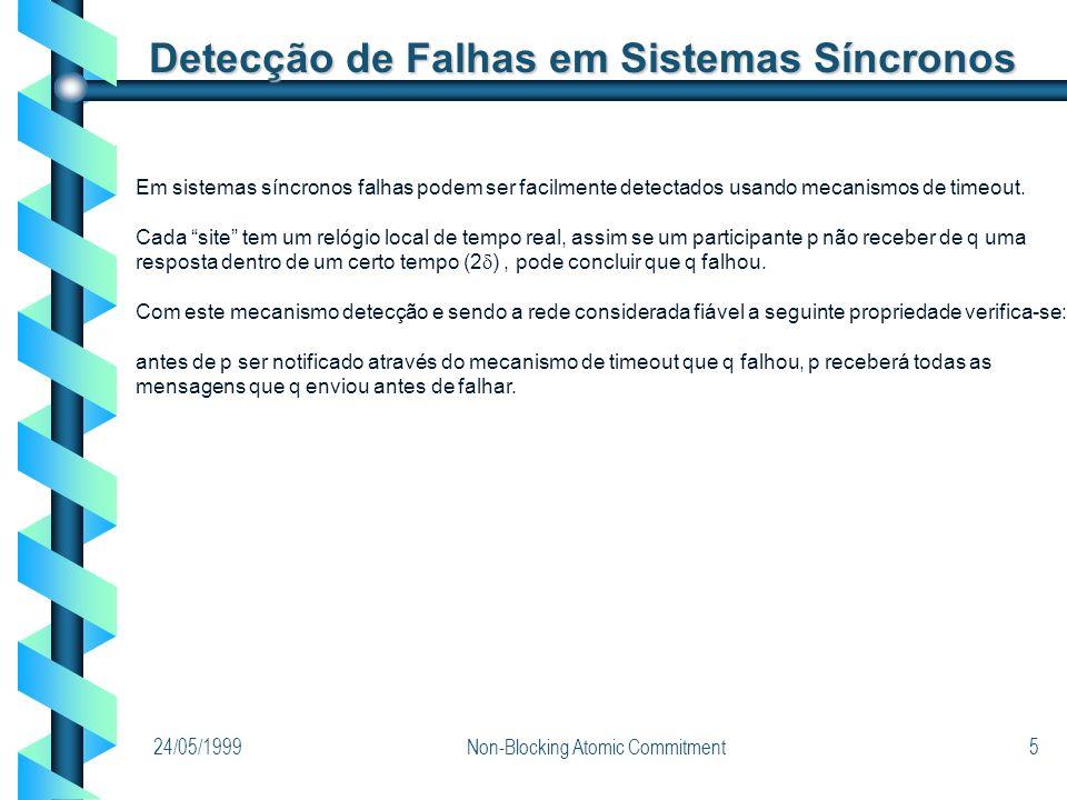 24/05/1999Non-Blocking Atomic Commitment5 Detecção de Falhas em Sistemas Síncronos Em sistemas síncronos falhas podem ser facilmente detectados usando