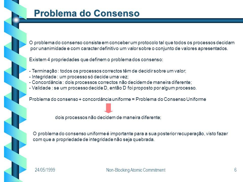 24/05/1999Non-Blocking Atomic Commitment6 Problema do Consenso O problema do consenso consiste em conceber um protocolo tal que todos os processos dec