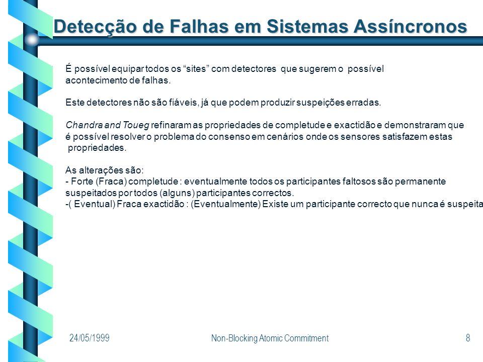 24/05/1999Non-Blocking Atomic Commitment8 Detecção de Falhas em Sistemas Assíncronos É possível equipar todos os sites com detectores que sugerem o po