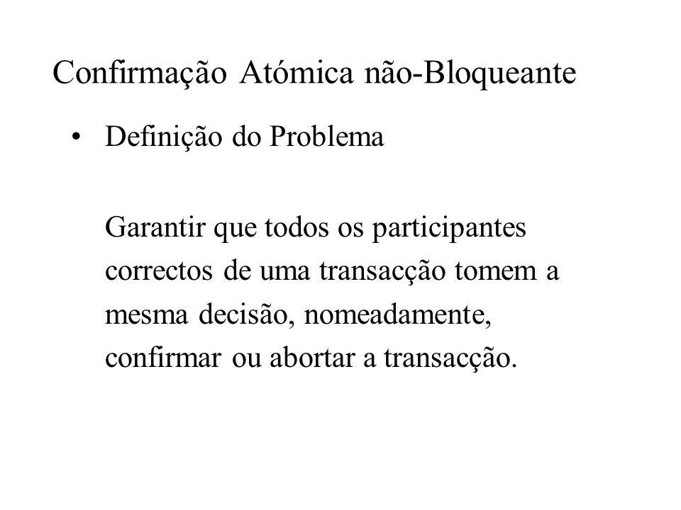 Confirmação Atómica não-Bloqueante Definição do Problema Garantir que todos os participantes correctos de uma transacção tomem a mesma decisão, nomeadamente, confirmar ou abortar a transacção.