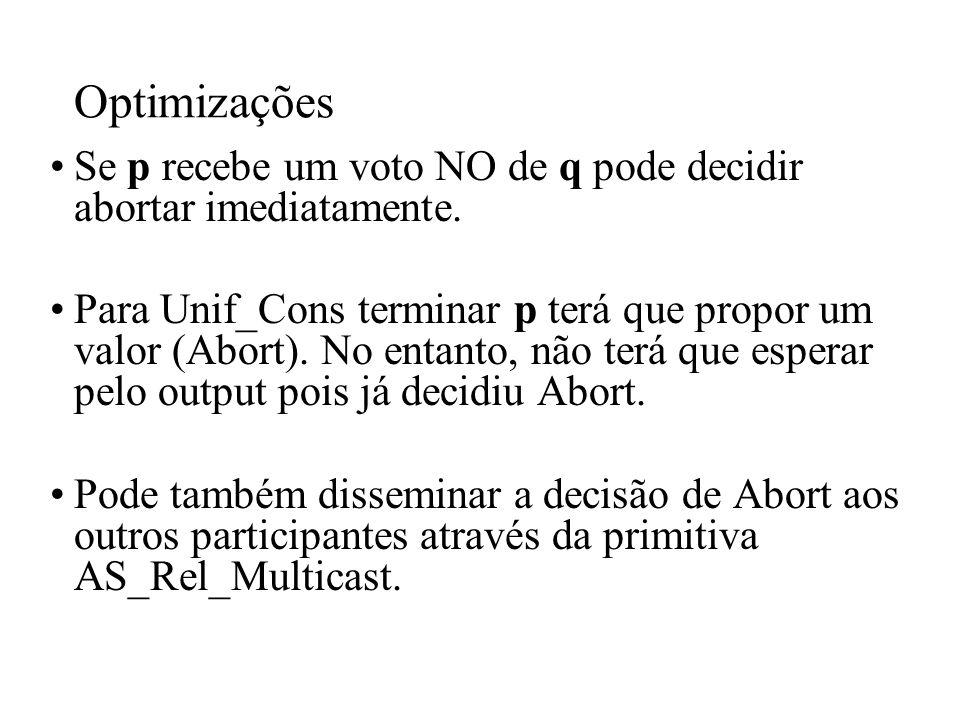 Optimizações Se p recebe um voto NO de q pode decidir abortar imediatamente.