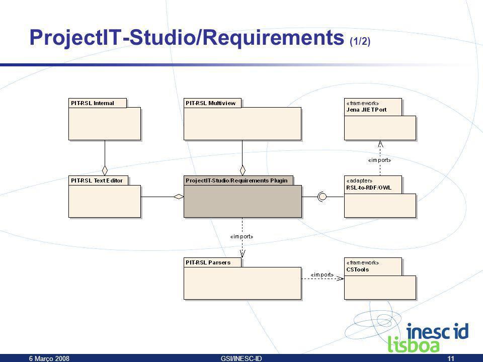 6 Março 2008GSI/INESC-ID11 ProjectIT-Studio/Requirements (1/2)