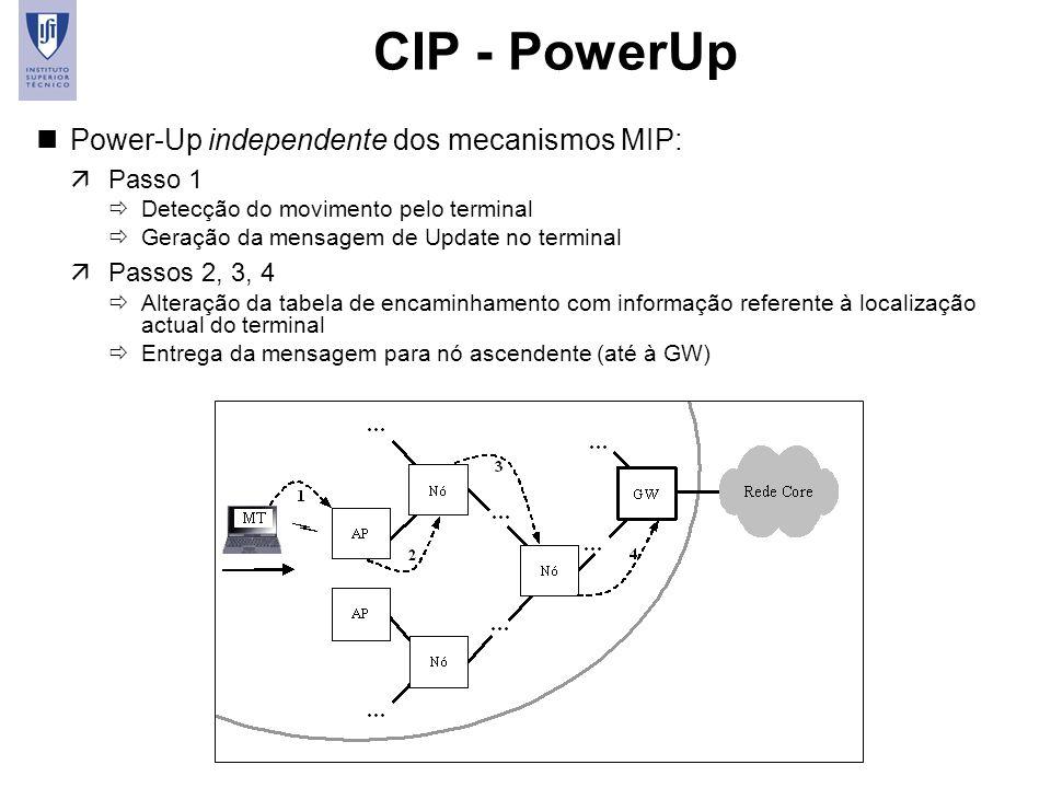 11 CIP - PowerUp nPower-Up independente dos mecanismos MIP: äPasso 1 Detecção do movimento pelo terminal Geração da mensagem de Update no terminal äPa