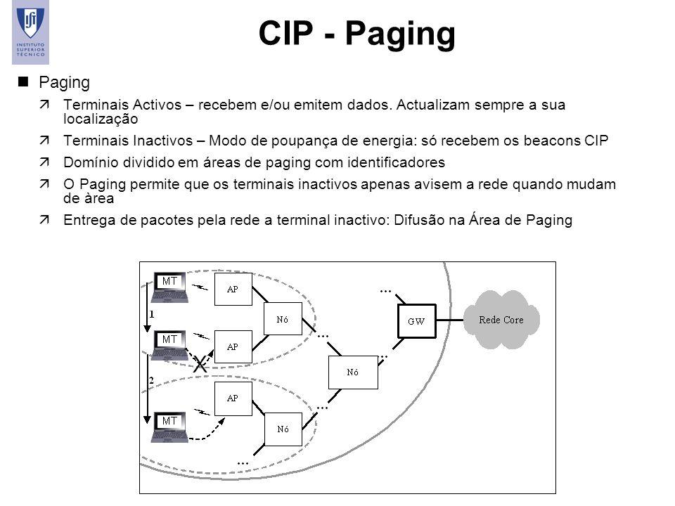 14 CIP - Paging nPaging äTerminais Activos – recebem e/ou emitem dados. Actualizam sempre a sua localização äTerminais Inactivos – Modo de poupança de
