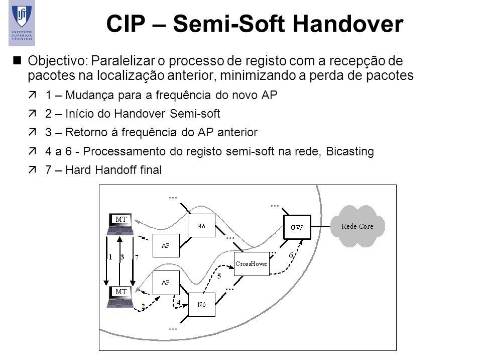 15 CIP – Semi-Soft Handover nObjectivo: Paralelizar o processo de registo com a recepção de pacotes na localização anterior, minimizando a perda de pa