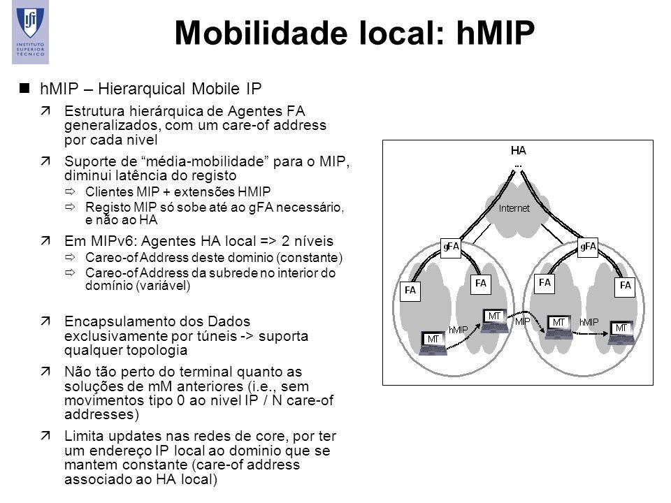 18 Mobilidade local: hMIP nhMIP – Hierarquical Mobile IP äEstrutura hierárquica de Agentes FA generalizados, com um care-of address por cada nivel äSu