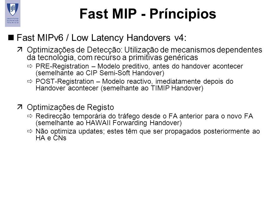 19 Fast MIP - Príncipios nFast MIPv6 / Low Latency Handovers v4: äOptimizações de Detecção: Utilização de mecanismos dependentes da tecnologia, com re