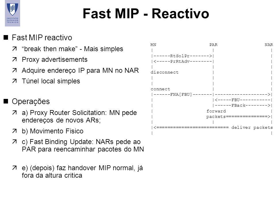 21 Fast MIP - Reactivo nFast MIP reactivo äbreak then make - Mais simples äProxy advertisements äAdquire endereço IP para MN no NAR äTúnel local simpl
