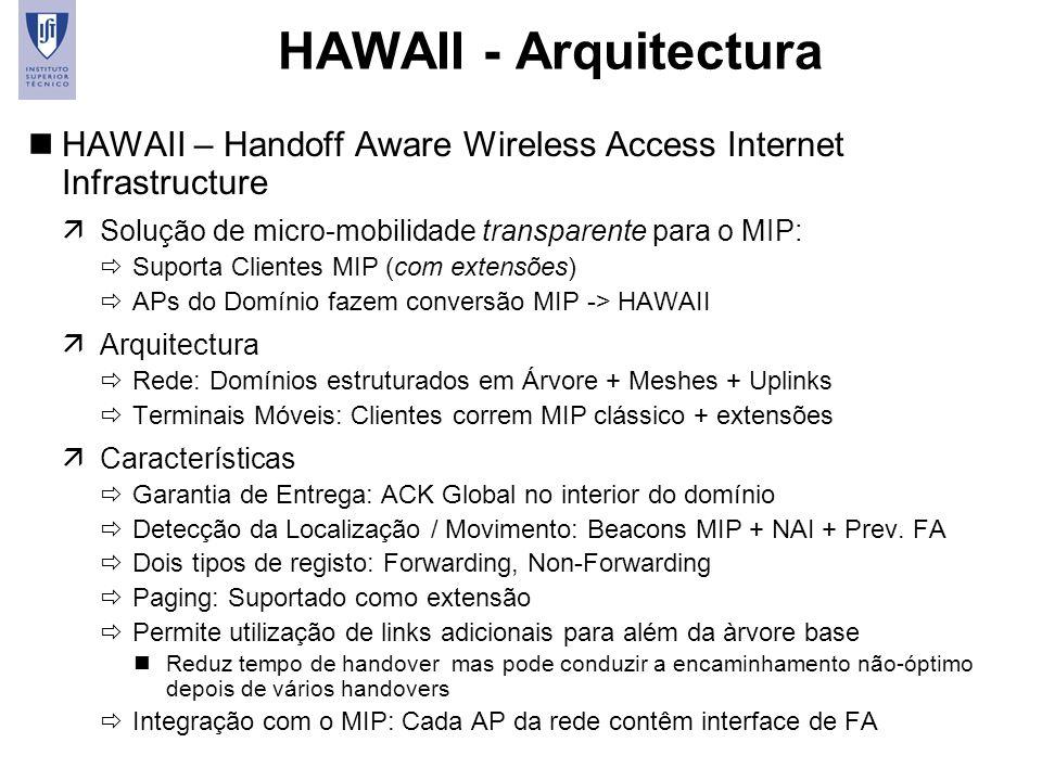 38 HAWAII - Arquitectura nHAWAII – Handoff Aware Wireless Access Internet Infrastructure äSolução de micro-mobilidade transparente para o MIP: Suporta