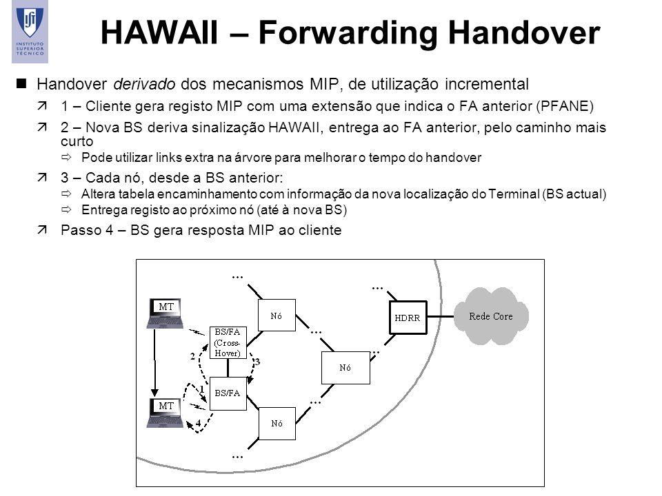 40 HAWAII – Forwarding Handover nHandover derivado dos mecanismos MIP, de utilização incremental ä1 – Cliente gera registo MIP com uma extensão que in