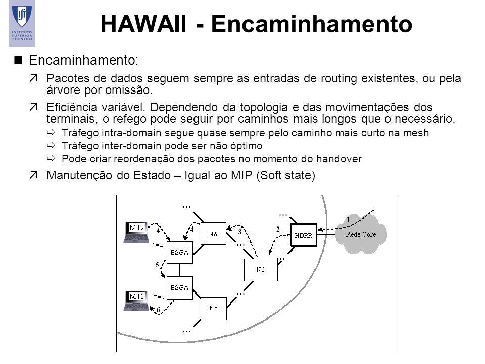 41 HAWAII - Encaminhamento nEncaminhamento: äPacotes de dados seguem sempre as entradas de routing existentes, ou pela árvore por omissão. äEficiência