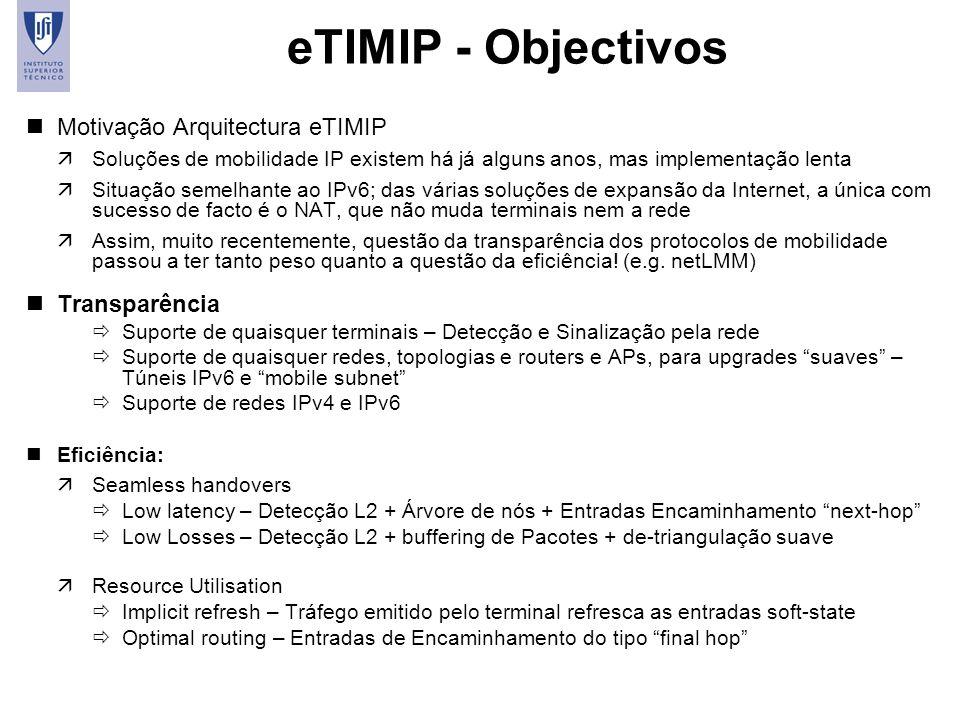 43 eTIMIP - Objectivos nMotivação Arquitectura eTIMIP äSoluções de mobilidade IP existem há já alguns anos, mas implementação lenta äSituação semelhan