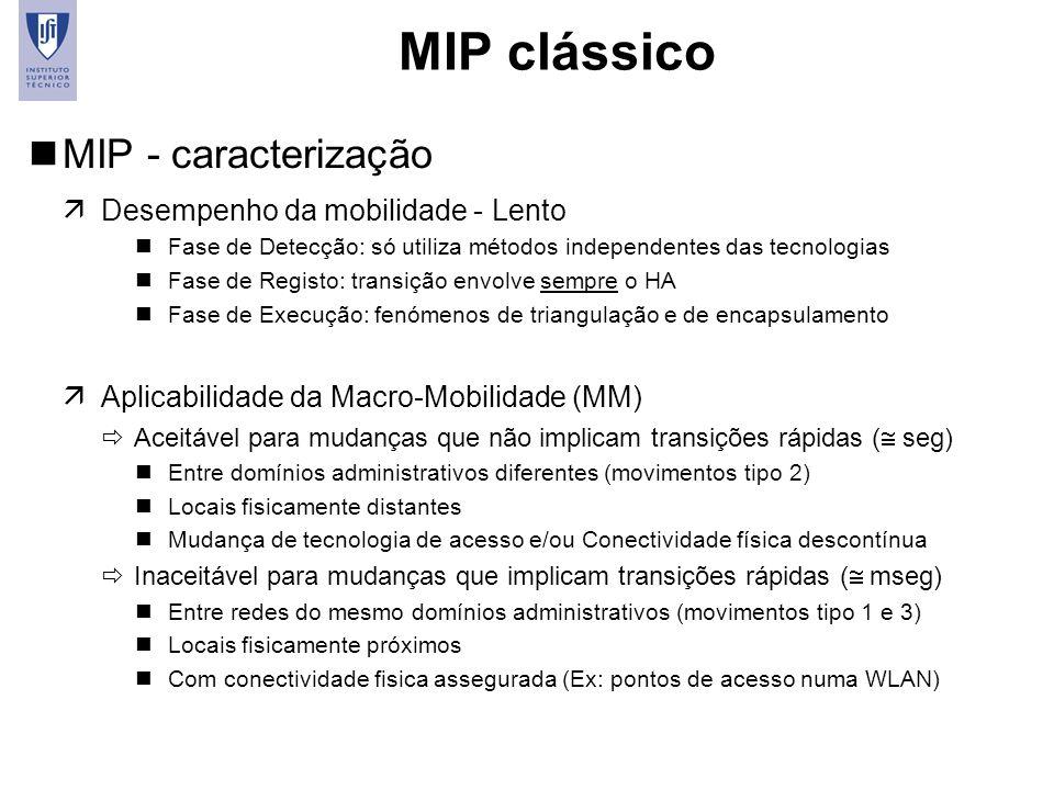 5 MIP clássico nMIP - caracterização äDesempenho da mobilidade - Lento nFase de Detecção: só utiliza métodos independentes das tecnologias nFase de Re