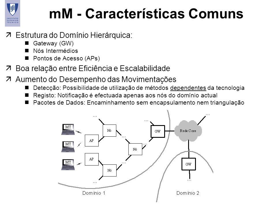 8 mM - Características Comuns äEstrutura do Domínio Hierárquica: nGateway (GW) nNós Intermédios nPontos de Acesso (APs) äBoa relação entre Eficiência