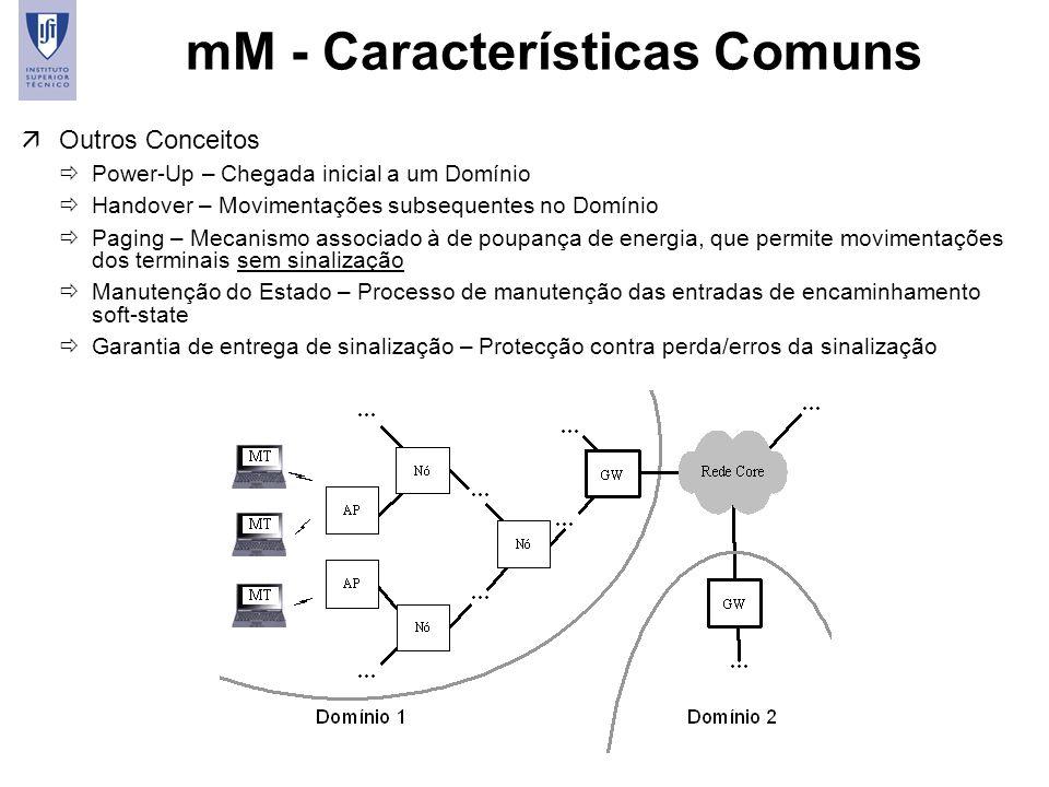 9 mM - Características Comuns äOutros Conceitos Power-Up – Chegada inicial a um Domínio Handover – Movimentações subsequentes no Domínio Paging – Meca