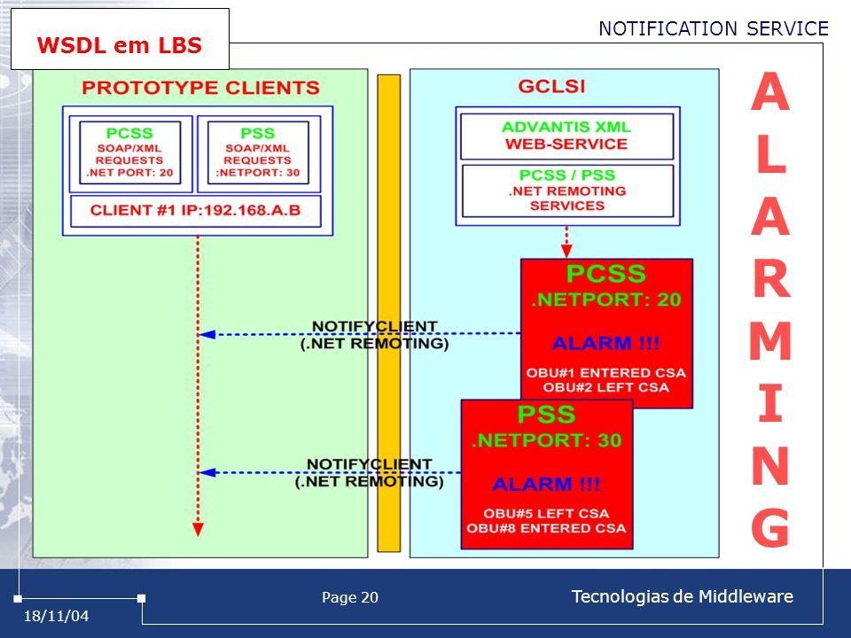 18/11/04 Page 20 Tecnologias de Middleware ALARMINGALARMING NOTIFICATION SERVICE WSDL em LBS
