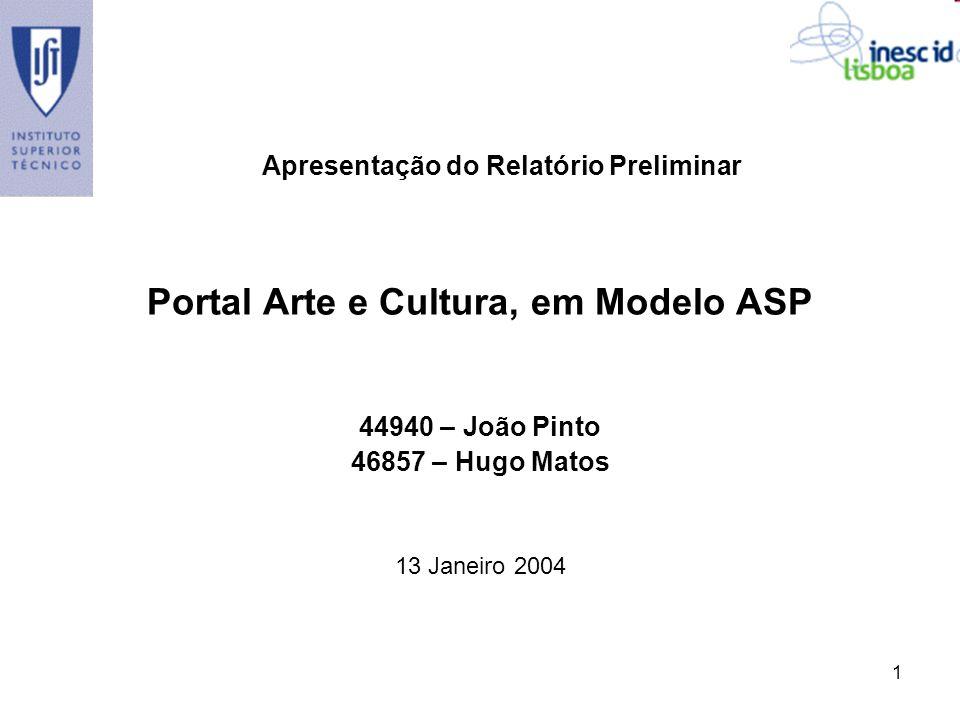 1 Portal Arte e Cultura, em Modelo ASP 44940 – João Pinto 46857 – Hugo Matos 13 Janeiro 2004 Apresentação do Relatório Preliminar