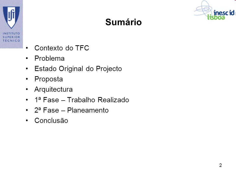 2 Sumário Contexto do TFC Problema Estado Original do Projecto Proposta Arquitectura 1ª Fase – Trabalho Realizado 2ª Fase – Planeamento Conclusão