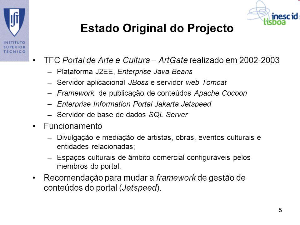 5 Estado Original do Projecto TFC Portal de Arte e Cultura – ArtGate realizado em 2002-2003 –Plataforma J2EE, Enterprise Java Beans –Servidor aplicaci