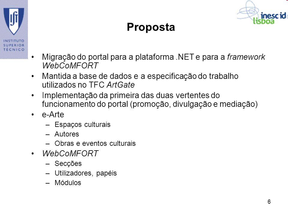 6 Proposta Migração do portal para a plataforma.NET e para a framework WebCoMFORT Mantida a base de dados e a especificação do trabalho utilizados no