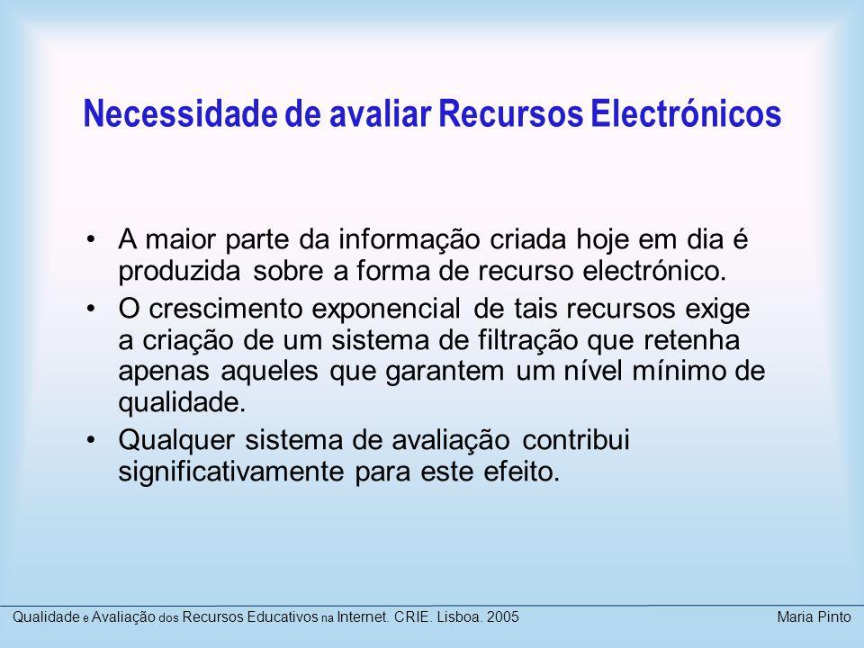 Necessidade de avaliar Recursos Electrónicos A maior parte da informação criada hoje em dia é produzida sobre a forma de recurso electrónico. O cresci
