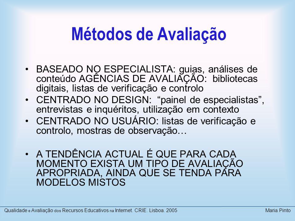 Métodos de Avaliação BASEADO NO ESPECIALISTA: guias, análises de conteúdo AGÊNCIAS DE AVALIAÇÃO: bibliotecas digitais, listas de verificação e control