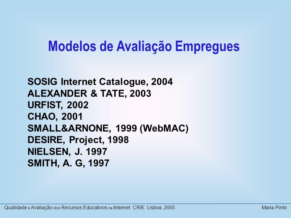 Modelos de Avaliação Empregues SOSIG Internet Catalogue, 2004 ALEXANDER & TATE, 2003 URFIST, 2002 CHAO, 2001 SMALL&ARNONE, 1999 (WebMAC) DESIRE, Proje