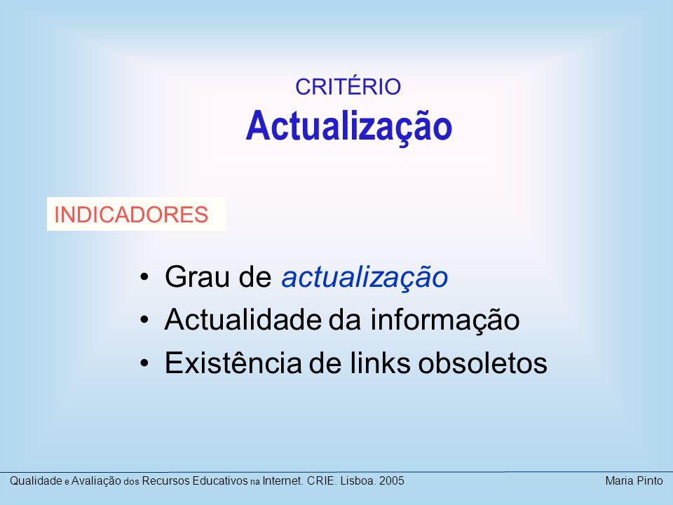 Actualização Grau de actualização Actualidade da informação Existência de links obsoletos INDICADORES CRITÉRIO Qualidade e Avaliação dos Recursos Educ