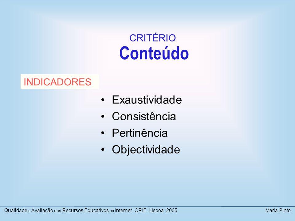 Conteúdo Exaustividade Consistência Pertinência Objectividade INDICADORES CRITÉRIO Qualidade e Avaliação dos Recursos Educativos na Internet. CRIE. Li