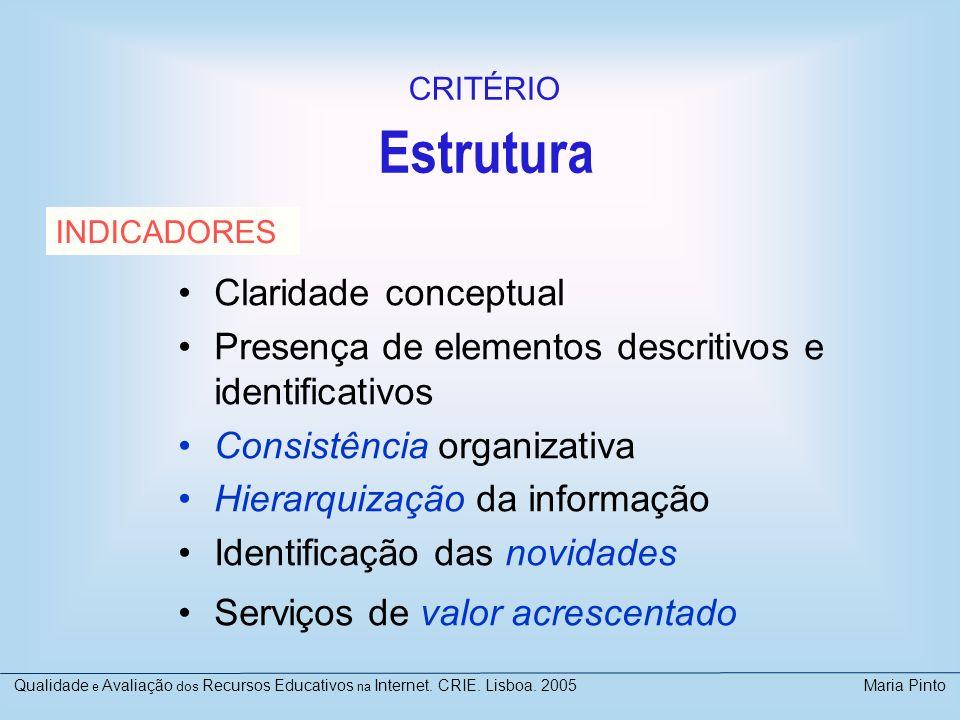 Estrutura Claridade conceptual Presença de elementos descritivos e identificativos Consistência organizativa Hierarquização da informação Identificaçã