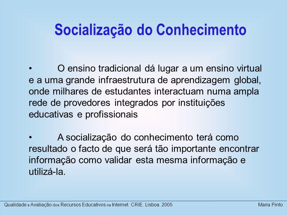 VISIWEB Avaliação de Sítios Virtuais Académicos Projecto financiado pelo Ministério de Educação e Ciência http://wwwn.mec.es/univ/html/informes/estudios_analisis/resulta dos_2003/EA2003-0012/VISIWEB.pdf http://wwwn.mec.es/univ/html/informes/estudios_analisis/resulta dos_2003/EA2003-0012/VISIWEB.pdf Participaram especialistas de 5 universidades Método de avaliação por especialistas Design de checklists: literatura em uso Análise individual/colectiva Análise transversal Elaboração de relatório de síntese avaliado Proposta de recomendações Qualidade e Avaliação dos Recursos Educativos na Internet.