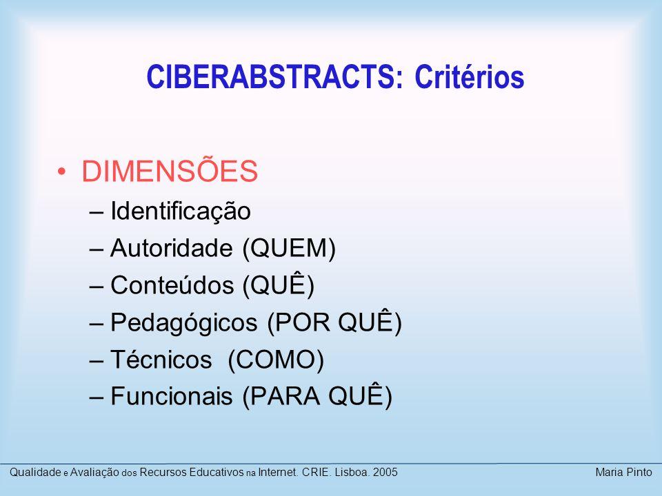 CIBERABSTRACTS: Critérios DIMENSÕES –Identificação –Autoridade (QUEM) –Conteúdos (QUÊ) –Pedagógicos (POR QUÊ) –Técnicos (COMO) –Funcionais (PARA QUÊ)