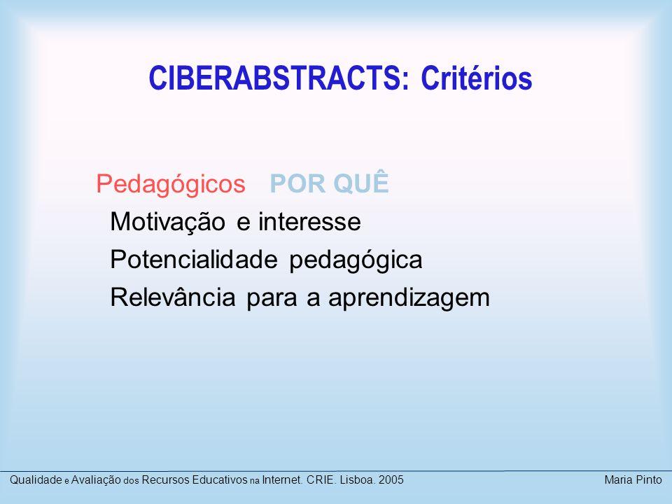CIBERABSTRACTS: Critérios Pedagógicos POR QUÊ Motivação e interesse Potencialidade pedagógica Relevância para a aprendizagem Qualidade e Avaliação dos