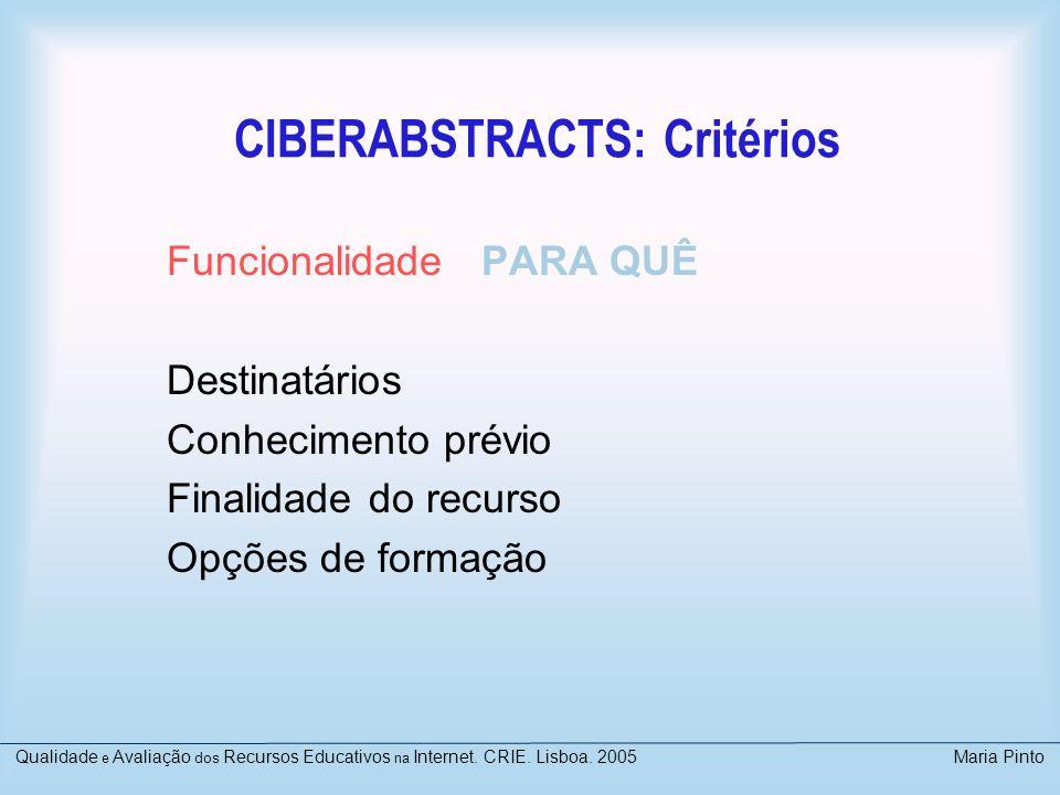 CIBERABSTRACTS: Critérios Funcionalidade PARA QUÊ Destinatários Conhecimento prévio Finalidade do recurso Opções de formação Qualidade e Avaliação dos