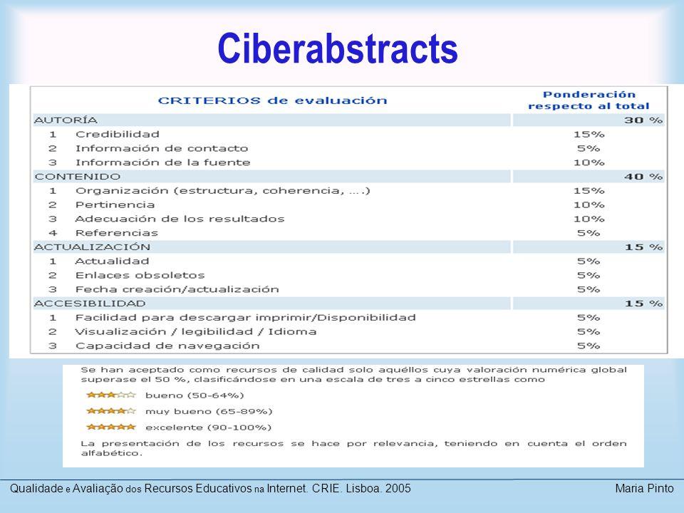 Ciberabstracts Qualidade e Avaliação dos Recursos Educativos na Internet. CRIE. Lisboa. 2005 Maria Pinto