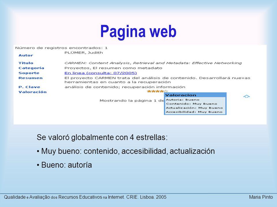 Pagina web Se valoró globalmente con 4 estrellas: Muy bueno: contenido, accesibilidad, actualización Bueno: autoría Qualidade e Avaliação dos Recursos
