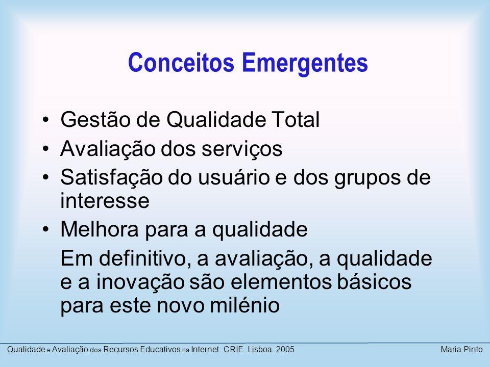 Conceitos Emergentes Gestão de Qualidade Total Avaliação dos serviços Satisfação do usuário e dos grupos de interesse Melhora para a qualidade Em defi