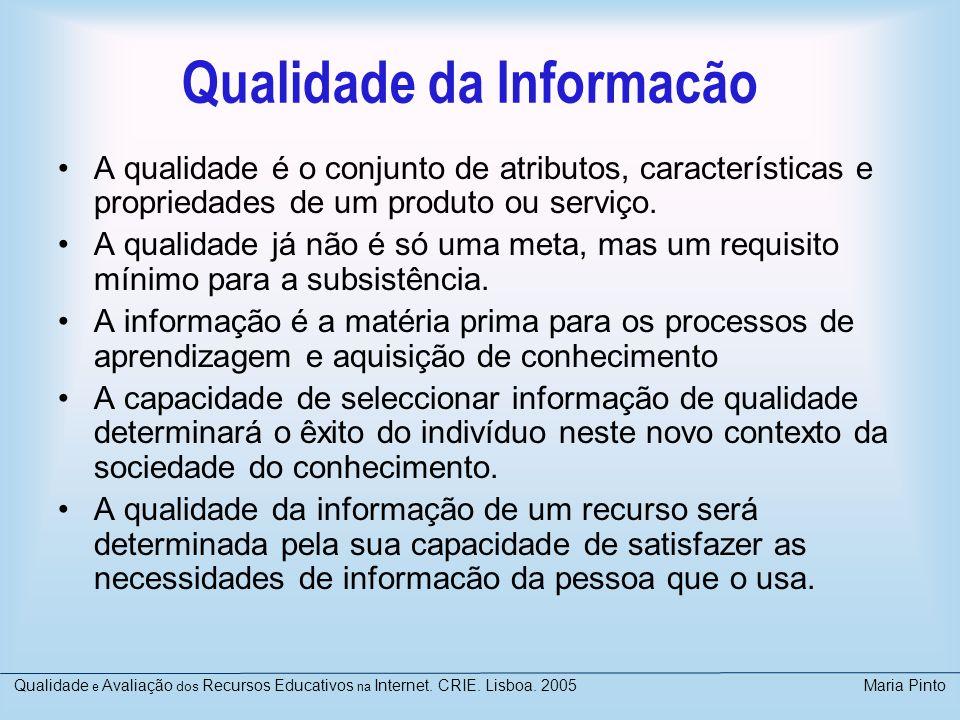 Qualidade da Informacão A qualidade é o conjunto de atributos, características e propriedades de um produto ou serviço. A qualidade já não é só uma me